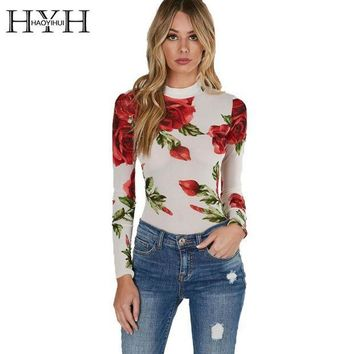 ESBONVX 2017 Floral Print Turtleneck Bodycon Jumpsuits Women Long Sleeve Sexy Rose Elegant Mesh Slim Summer Bodysuits