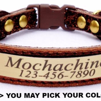 "Cat Collar: Leather-Ribbon-Suede - 5/8"" Wide - Personalized with Breakaway Buckle"