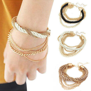 Popular Jewelry Low key Luxurious Metal Chain Braided rope Multilayer bracelet Anklets for women