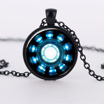 2015 charms necklaces Iron Man Arc Reactor Pendant glass Necklace Art picture Gothic choker Jewelry FTC-N460