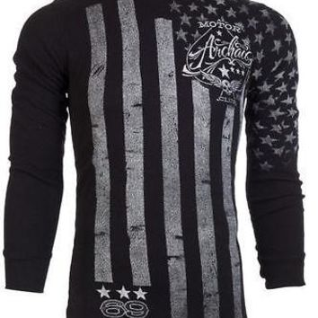 Licensed Official ARCHAIC by AFFLICTION Mens THERMAL Shirt NATION American USA FLAG Biker $58 a