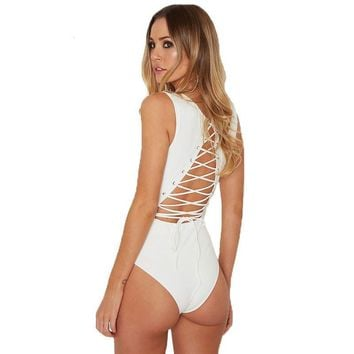 Tie-Up Open Back Bodysuit