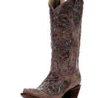 Women's Brown Crater Turquoise Inlay & Studs Boot