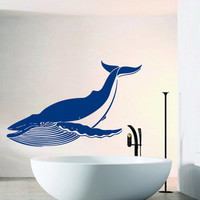 Wall Decals Vinyl Decal Big Whale Sea Animals Bathroom Home Vinyl Decal Sticker Kids Nursery Baby Room Decor kk191