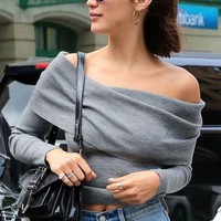 Women'S Sexy Long Sleeve Knitted Sweaters