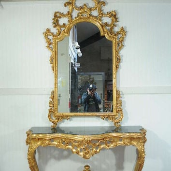 Labarge French Rococo Carved Wood Gold Gilt Marble Console Table & Mirror