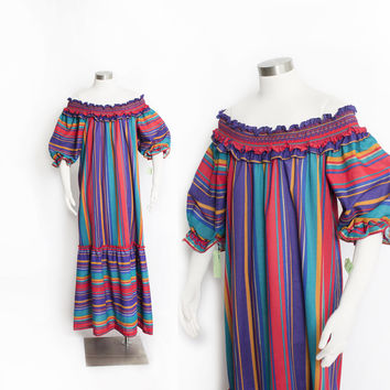 Vintage 1980s Dress - Stoped Jewel Tone Off-The-Shoulder Smocked Maxi NOS - Small