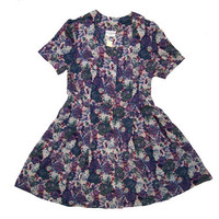 80s - 90s grunge lilac/purple floral print button down sweetheart neck skater dress // sz l - xl
