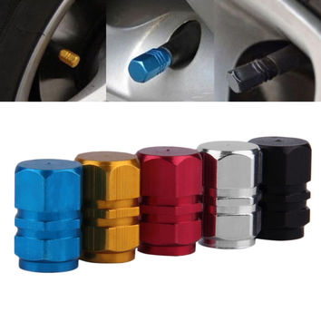 2016 4pcs pack Theftproof Aluminum Car Wheel Tire Valves Tyre Stem Air Caps Airtight Cover silver color hot sale