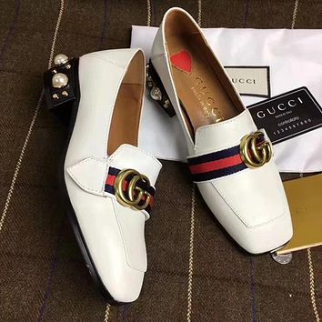 GUCCI Pearl Women Fashion Loafers Low heeled Shoes