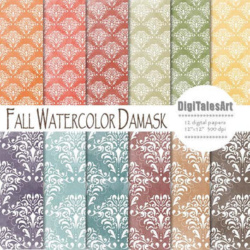 "Fall damask digital paper ""Fall Watercolor Damask"" digital clip art papers in blue, yellow, red, brown, autumn colors, fall background"