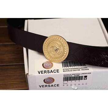 Versace Fashion Buckle Belt Leather Belt Contracted Smooth