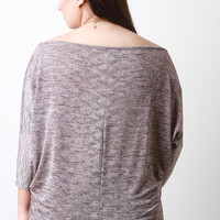 Marled Knit Boat Neck Dolman Sleeves Top