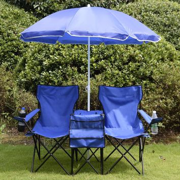 Portable Folding Picnic Set Double Chair+Umbrella+Table Blue Outdoor Furniture Cooler Beach Camping Chair BBQ Seat OP2647