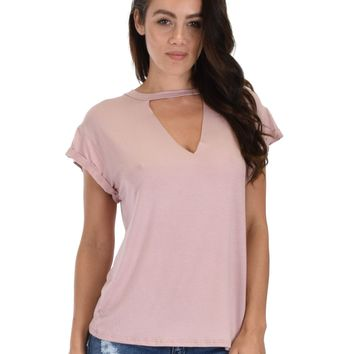 Lyss Loo Unfiltered Raw Edge V-neck Mauve Tunic Top