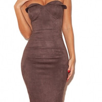Amber Maroon Suede Dress