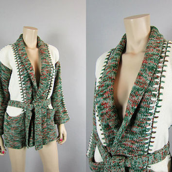 Vintage 70s Shawl Collar Space Dye Cardigan Wrap Sweater Jacket Grandpa Kimono Sleeve ethnic boho hippie grunge Southwestern
