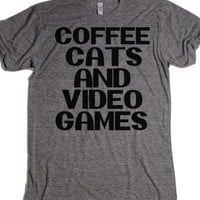 Coffee, Cats, and Video Games-Unisex Athletic Grey T-Shirt