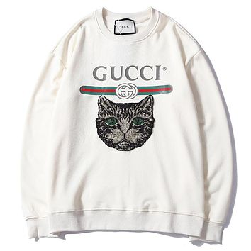 GUCCI autumn and winter new letter print sequins cat round neck sweater F-A-KSFZ Apricot