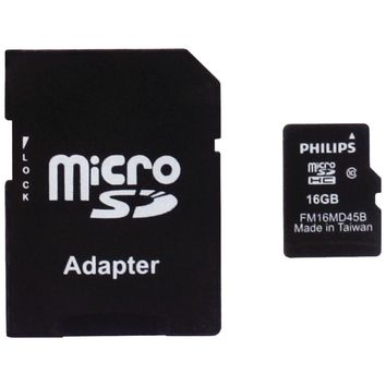 Philips 16gb Class 10 Microsdhc Card With Adapter & Pp Case