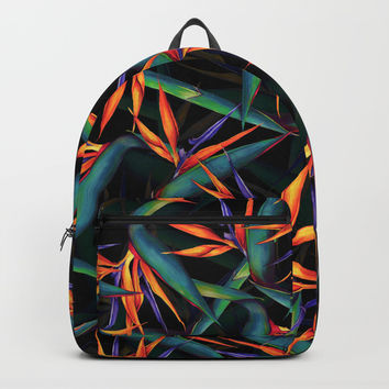 Tropical Leaf Pattern Backpack by Burcu Korkmazyurek