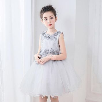 Girls Dresses for Party and Wedding Newest 3D Lace Floral Girl Princess Kids Ball Gown Pageant Dress