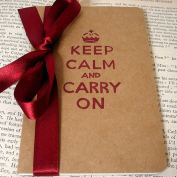 Keep Calm and Carry On Pocketbook-Altered Moleskine Kraft Cahier-Notebook/Journal/Pocketbook Perfect for Gifts