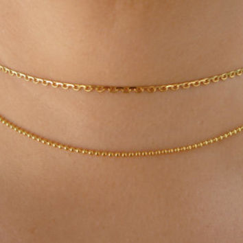Dainty Gold Chain Choker Necklace  | Chain Choker | Gold Choker | Dainty Choker | Thin Choker | Delicate Choker | Adjustable Choker