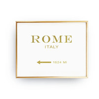 Rome Italy 1624 MI, Inspirational Poster, Rome Print, Bedroom Decor, Real Gold Foil Print, Girls Inspired Poster, Italy Print, Italy Art