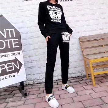 """Moschino"" Women Casual Fashion Letter Pattern Print Long Sleeve Trousers Set Two-Piece Sportswear"