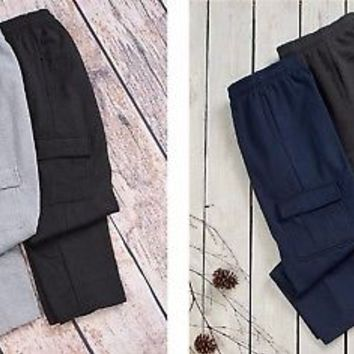 Men's Set of 2 Cargo Pocket Fleece Warm Pants Outdoor Casual Wear M L XL 2XL