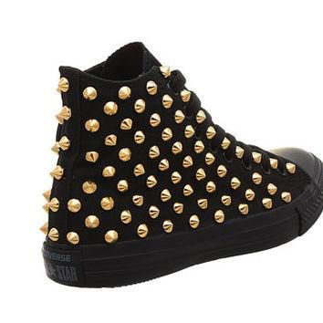 Studded Converse, Converse All Black Hith Top with Gold Cone Studs by CUSTOMDUO on ETS