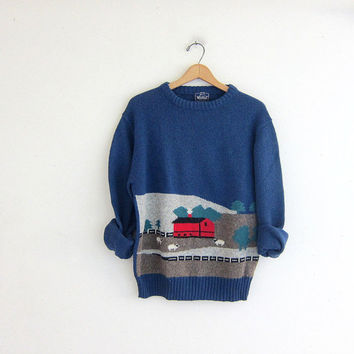 vintage novelty WOOLRICH sweater // wool sweater in blue with Farm animals