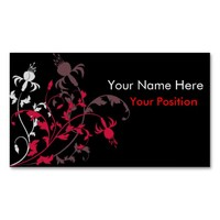 Red & White Floral print on black Business Cards