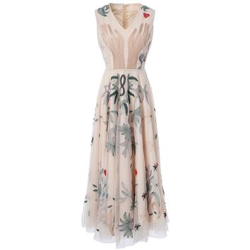 Ladies Dresses New Summer Fashion V-Neck Sleeveless Floral and Animal Embroidery Noble Mesh Mid-Calf Empire Sexy Dress