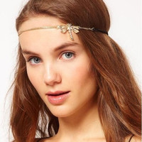 Dragonfly Elastic Headband Hair Accessories for Brides and Prom.