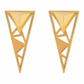 Gold Plated Brass Geometric Triangle Earrings