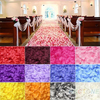 100pcs Silk Rose Flower Petals Leaves Wedding Table Decorations = 1933202180