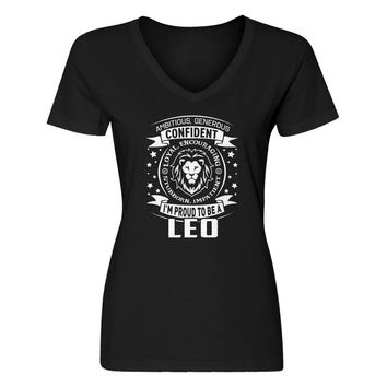 Womens Leo Astrology Zodiac Sign Vneck T-shirt