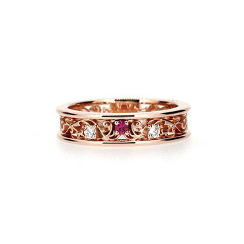 Rose gold filigree ring with Pink spinel and diamonds, filigree engagement ring, spinel ring, unique, diamond wedding, custom, white gold