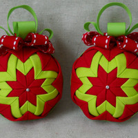Quilted Christmas Ornament Set of 2 Christmas Decorations Handmade