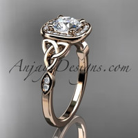 "14kt rose gold diamond celtic trinity knot wedding ring, engagement ring with a ""Forever One"" Moissanite center stone CT7179"