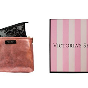 Victoria's Secret Rose Gold Cosmetic Bag & Black Small Bag w/ Gift Box
