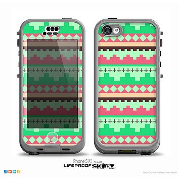 The Lime Green & Coral Tribal Ethic Geometric Pattern Skin for the iPhone 5c nüüd LifeProof Case