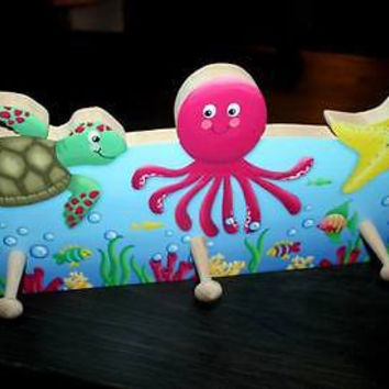 Girly Ocean Creatures Wooden CLOTHES PEG Rack Bathroom Bedroom 3CR001