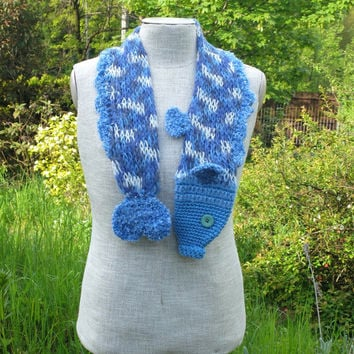 Blue white fish scarf, handmade soft scarf, knitted scarf, animal scarf, children scarf, yarn scarf, nautical scarf, neck warmer