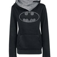 Batman Print Autumn Spring Zipper Pocket Women Long Sleeve Hooded Outerwear Coat