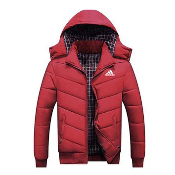 ADIDAS autumn and winter men's thick hooded casual windproof sports jacket plus velvet padded jacket Red