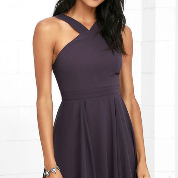 Forevermore Dusty Purple Skater Dress
