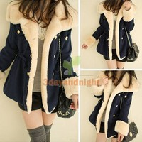 Korean Winter Fashion Slim Warm Double-breasted Wool Blend Jacket Women Coat